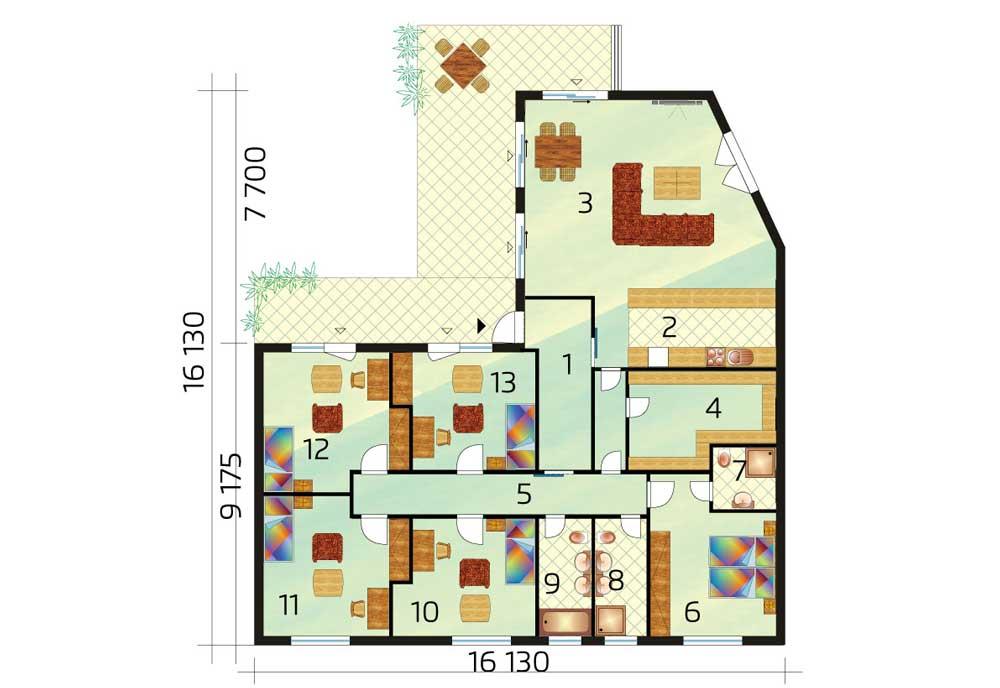 6-izbový bungalov pôdorys