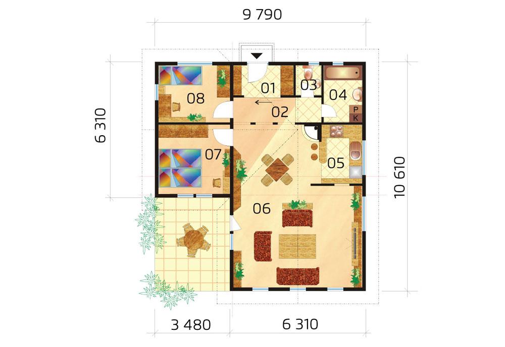 Pôdorys bungalovu v tvare L
