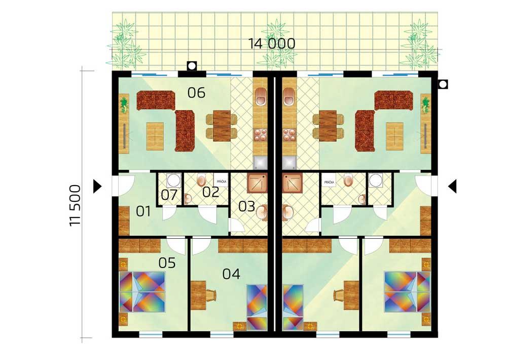 Dvojdom bungalov pôdorys
