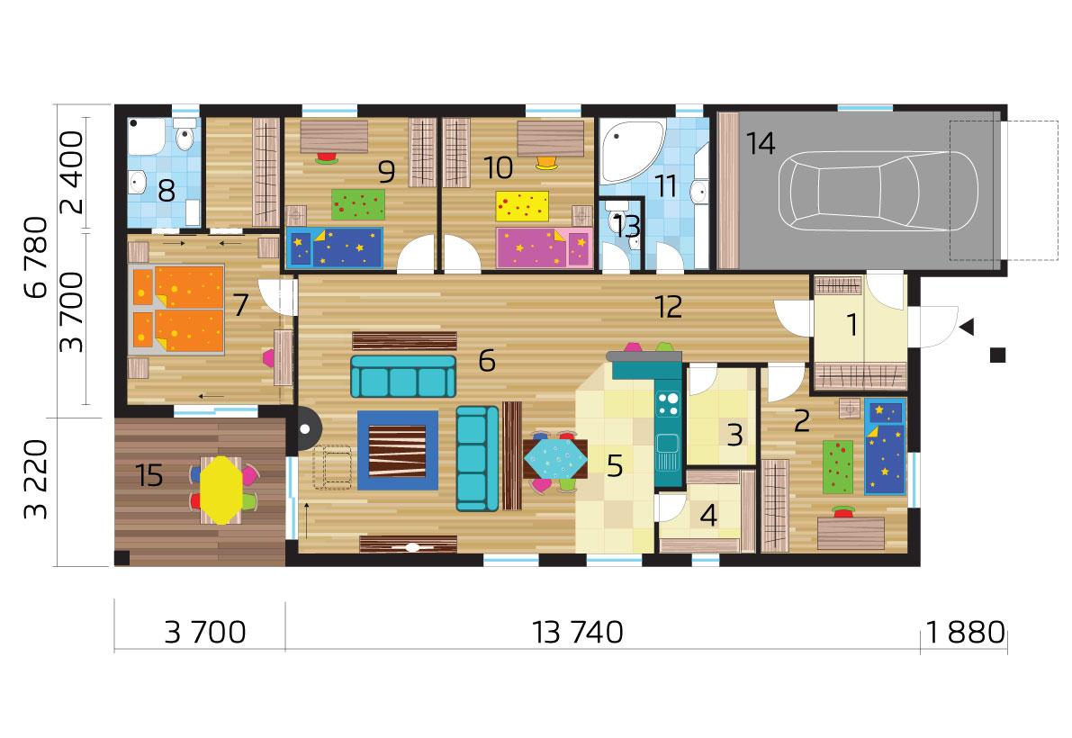 Bungalov s garážou a štyrmi spálňami - č.44 - podorys