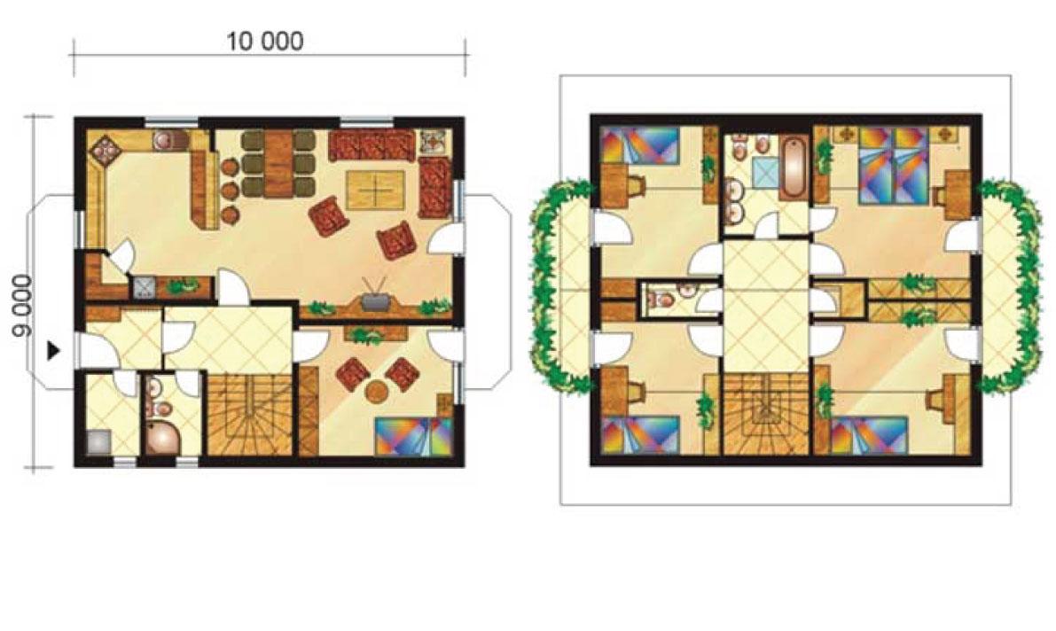 Šesťizbový poschodový dom s balkónom - č.7-pôdorys