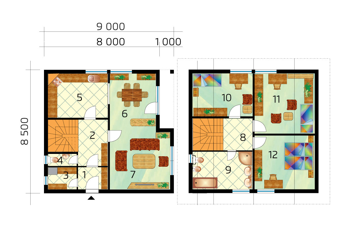 Veľký trojspálňový poschodový dom - č.1 - podorys