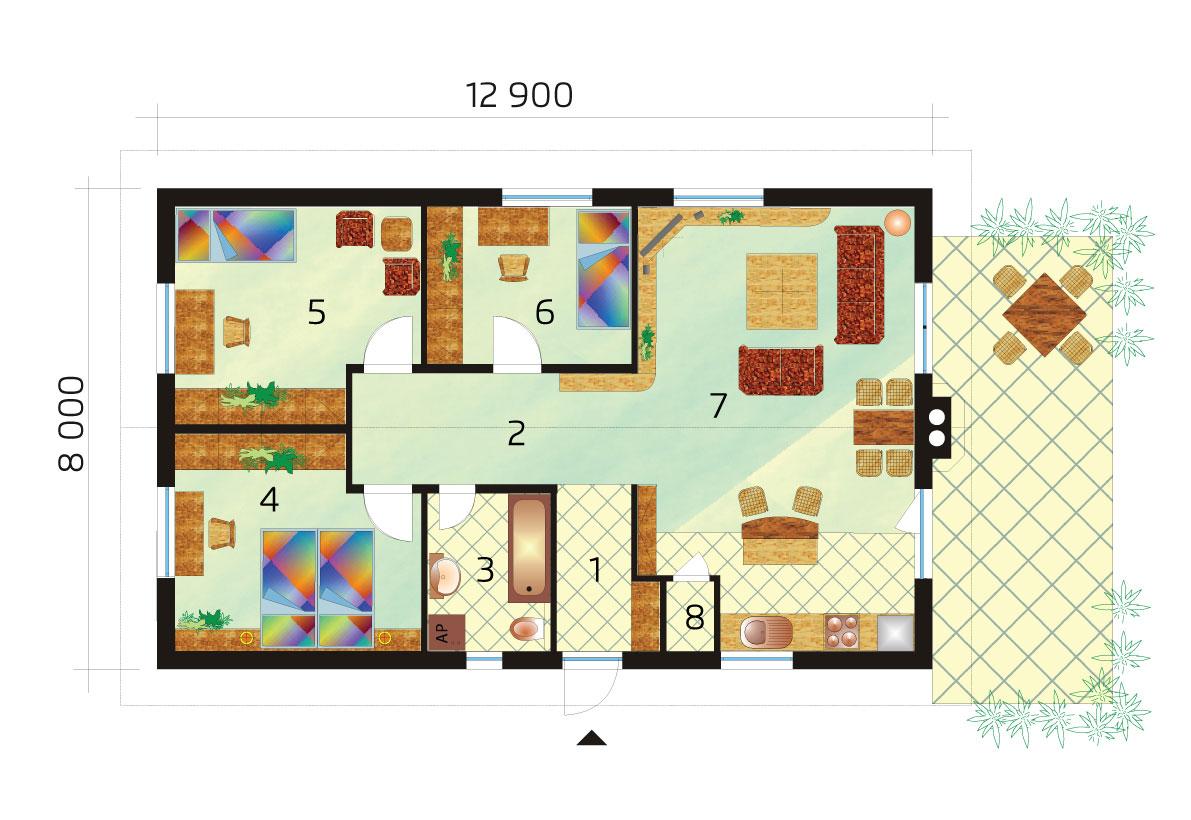Obľúbený projekt rodinného domu s troma spálňami - č.31B, pôdorys