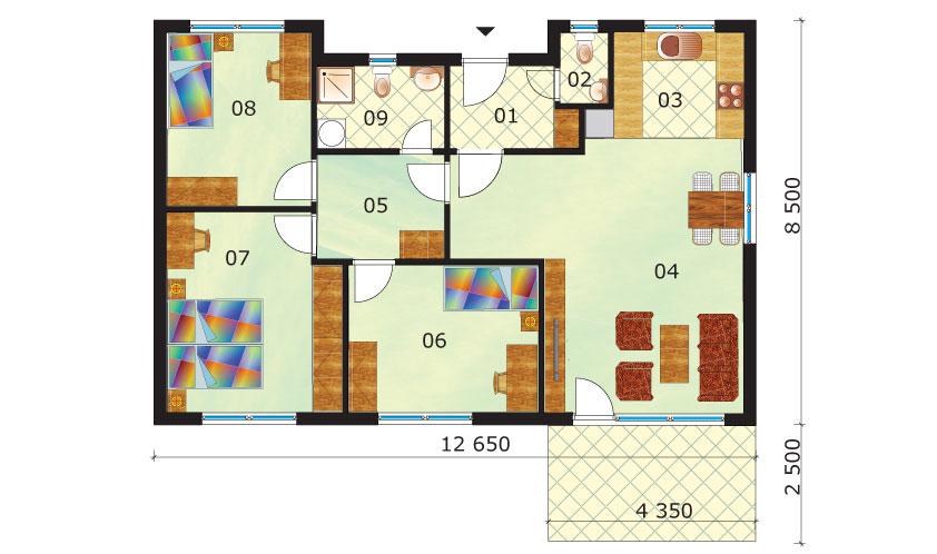 Úsporný 4-izbový bungalov pôdorys