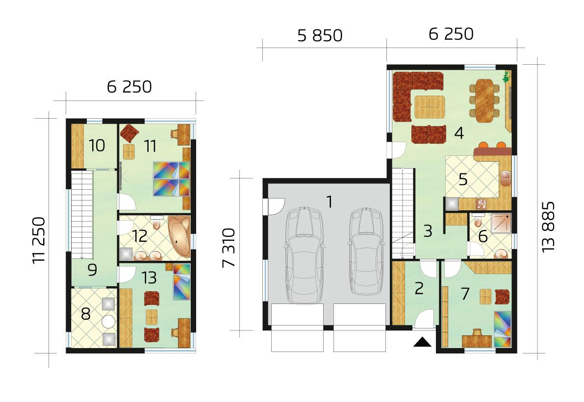Dvojpodlažný moderný dom s garážou - č.50 - podorys