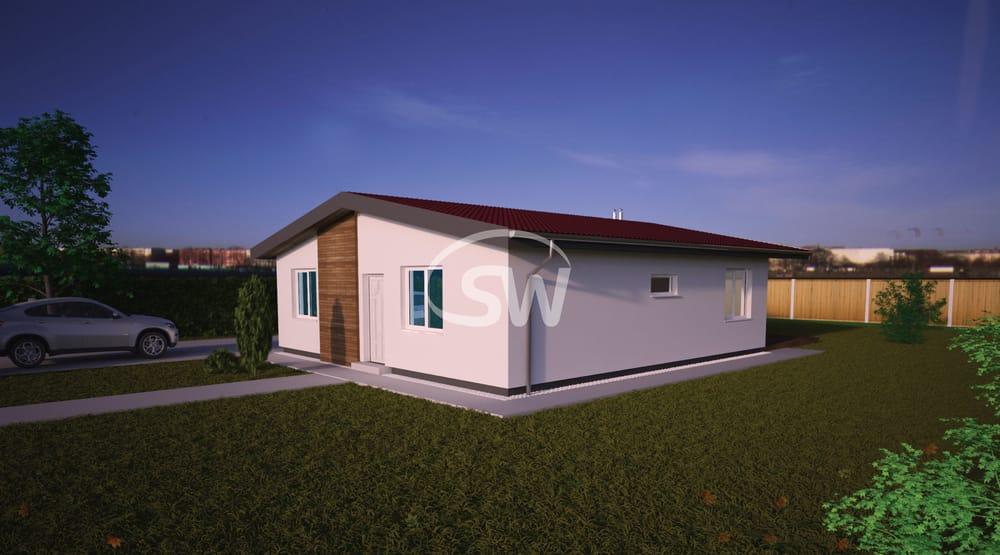 Dvojizbový bungalov štvorcového pôdorysu - č.38