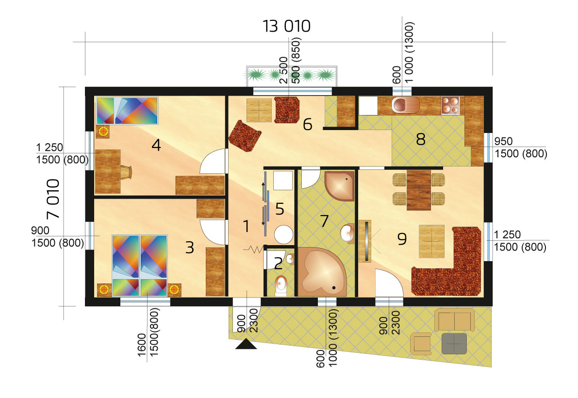 Dvojspálňový bungalov dostupný skladom -č.94 - podorys
