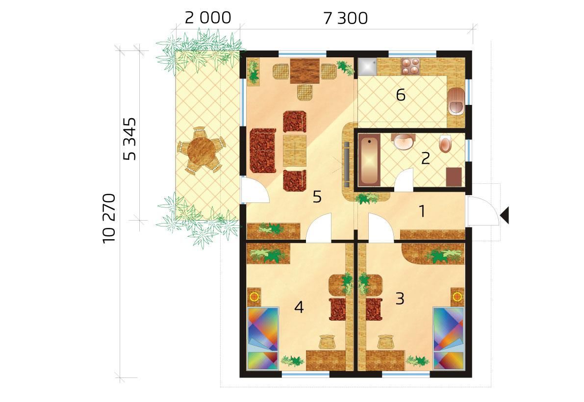 Malý bungalov pre úzky pozemok - č.14-podorys