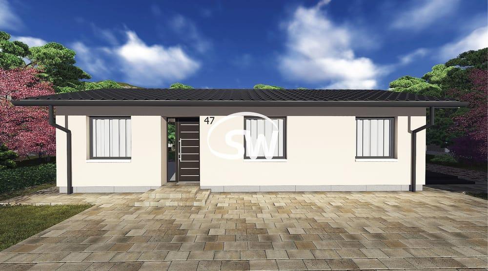 Projekt úzkeho trojizbového bungalovu v tvare obdĺžnika- č.47