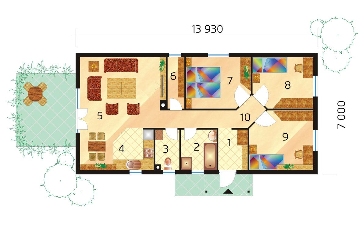 Projekt úzkeho trojspálňového montovaného bungalovu - č.36-podorys