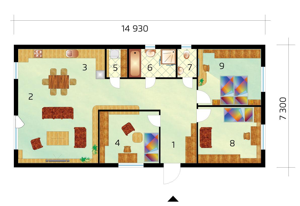 Projekt trojspálňového domu na úzky pozemok - č.18-podorys