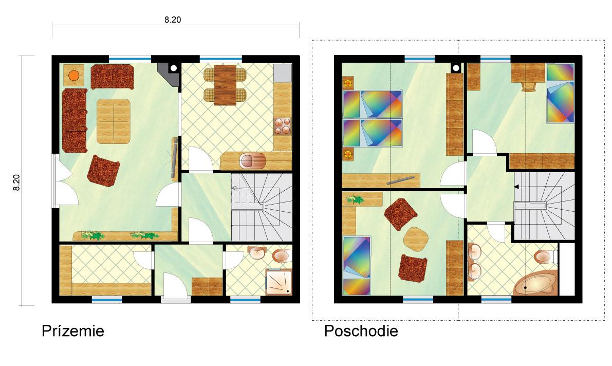 Stredne veľký dvojpodlažný rodinný dom - č.6