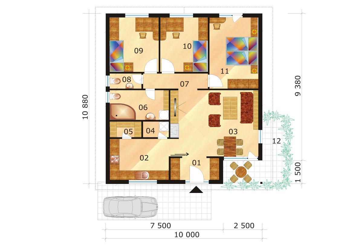 Trojspálňový-rodinný-dom-so-štvorcovým-pôdorysom-podorys