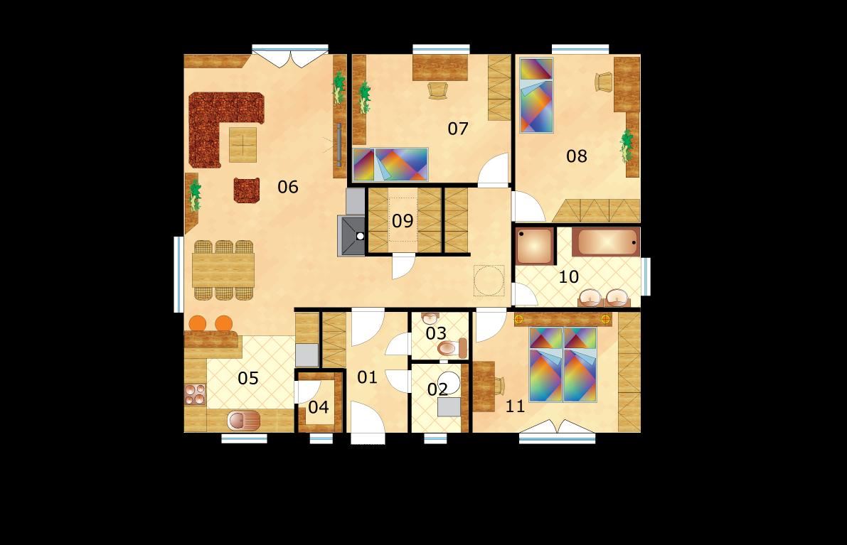 Veľký bungalov štvorcového tvaru - č.46 -pôdorys