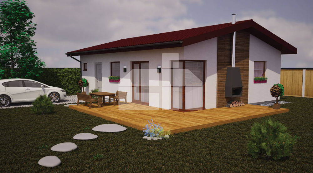 Dvojspálňový bungalov pre menšie pozemky - č.15