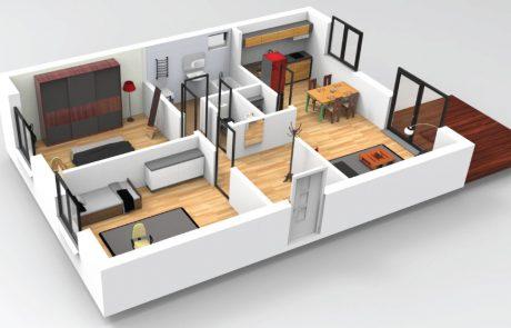 Projekt trojspálňového domu na úzky pozemok - dvojspálňový variant