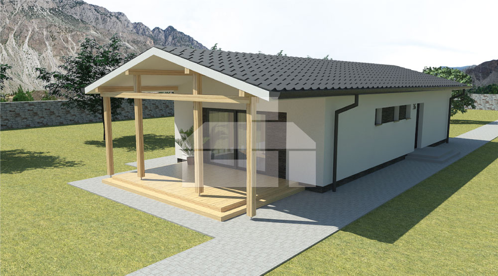 Projekt úzkeho trojspálňového montovaného bungalovu - č.36