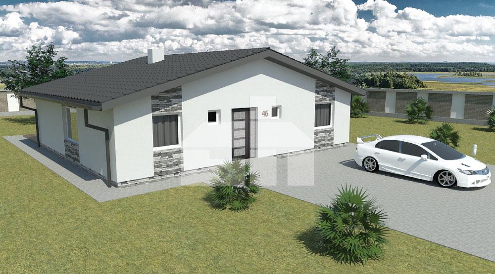 Veľký bungalov štvorcového tvaru - č.46