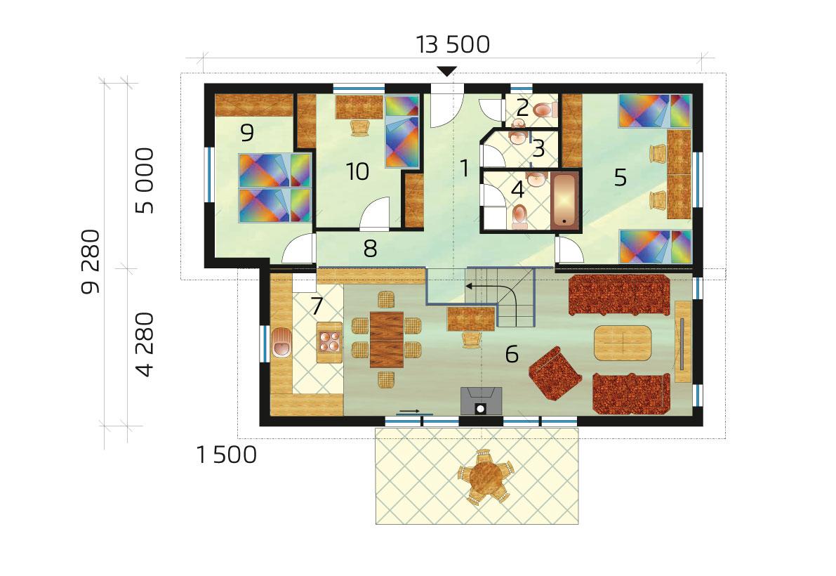 Rodinný dom vhodný na svahovitý pozemok - č.60 - podorys