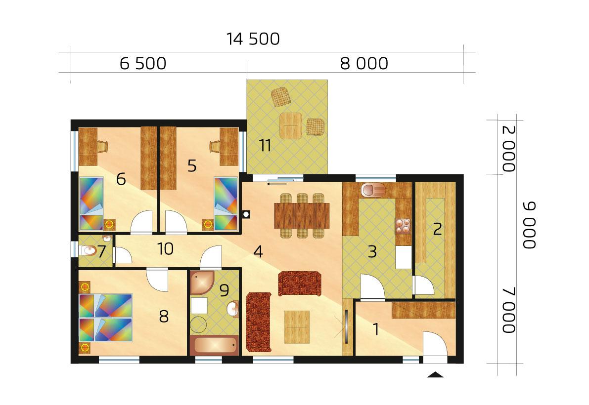 Trojspálňový rodinný dom s podpivničením - č.49 pôdorys
