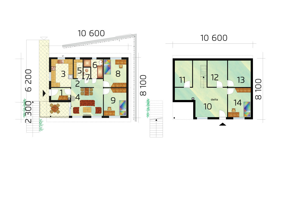 Trojizbový rodinný dom do svahu - č.61, pôdorys