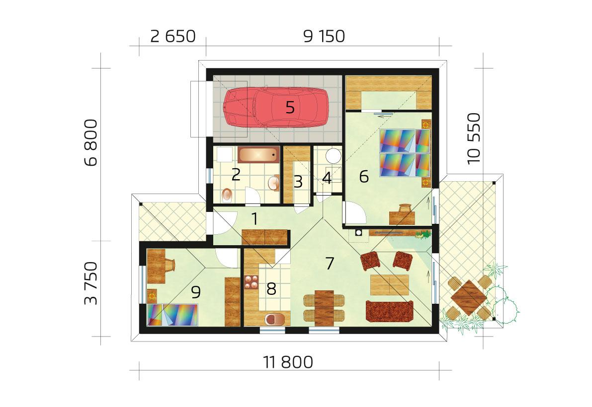 Trojizbový rodinný dom s garážou – č.24 - pôdorys