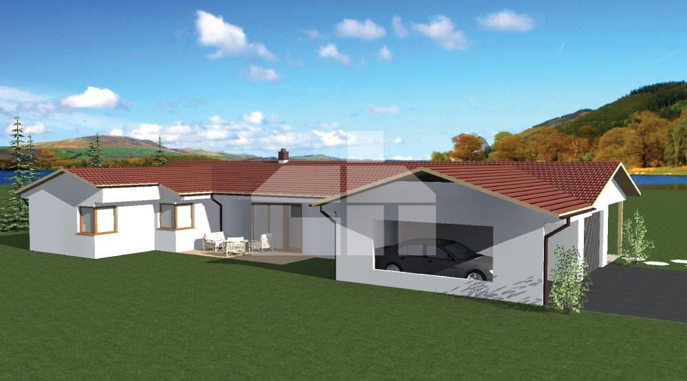 Veľký bungalov v tvare U s dvojgarážou - č.29