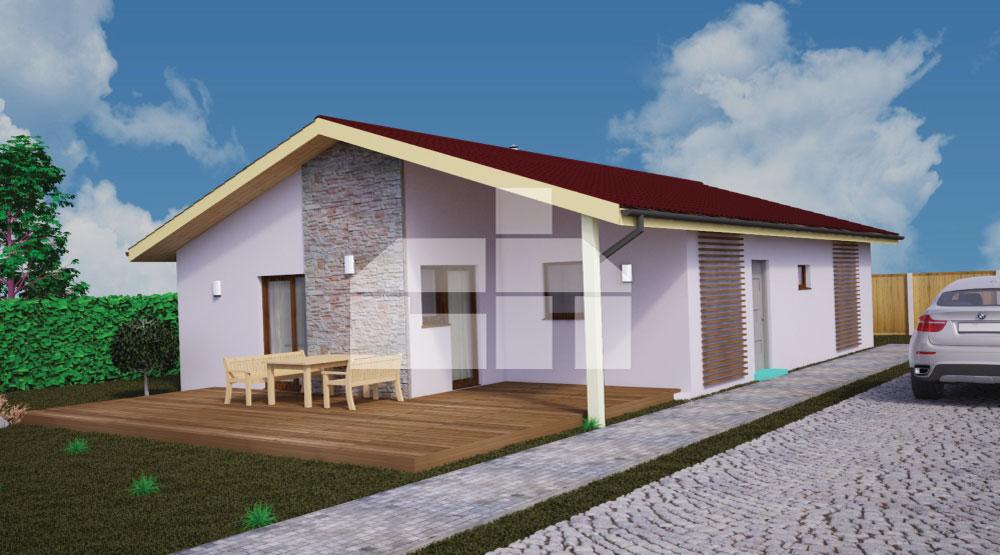 Štvorizbový bungalov v tvare obdĺžnika - č.39