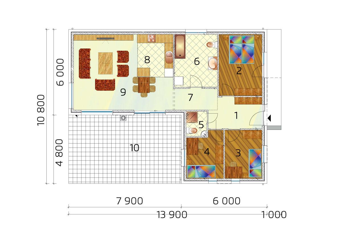 L-kový rodinný dom s troma spálňami - č.23 - pôdorys