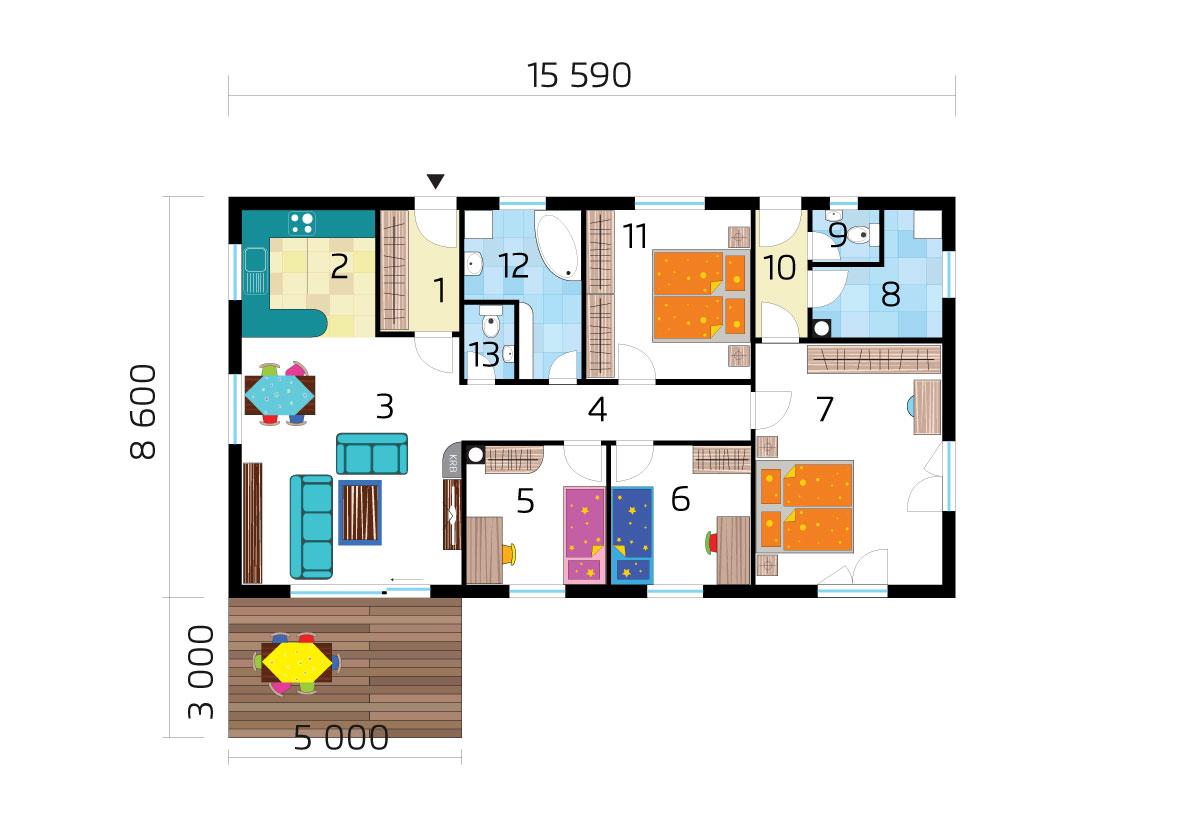 Dvojgeneračný dom s troma spálňami č.71 - podorys