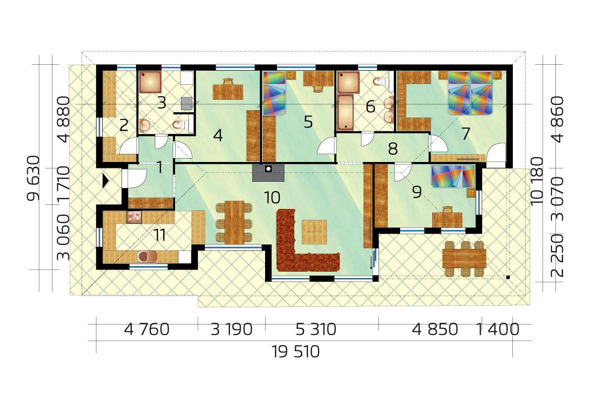 Veľký trojspálňový dom s pracovňou - č.42 pôdorys