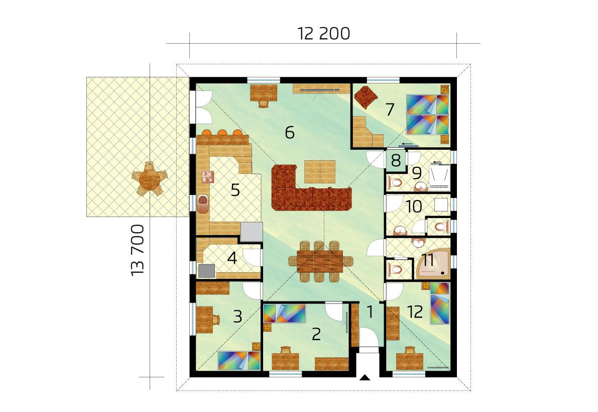 Veľký 5-izbový bungalov s valbovou strechou - č.74, pôdorys