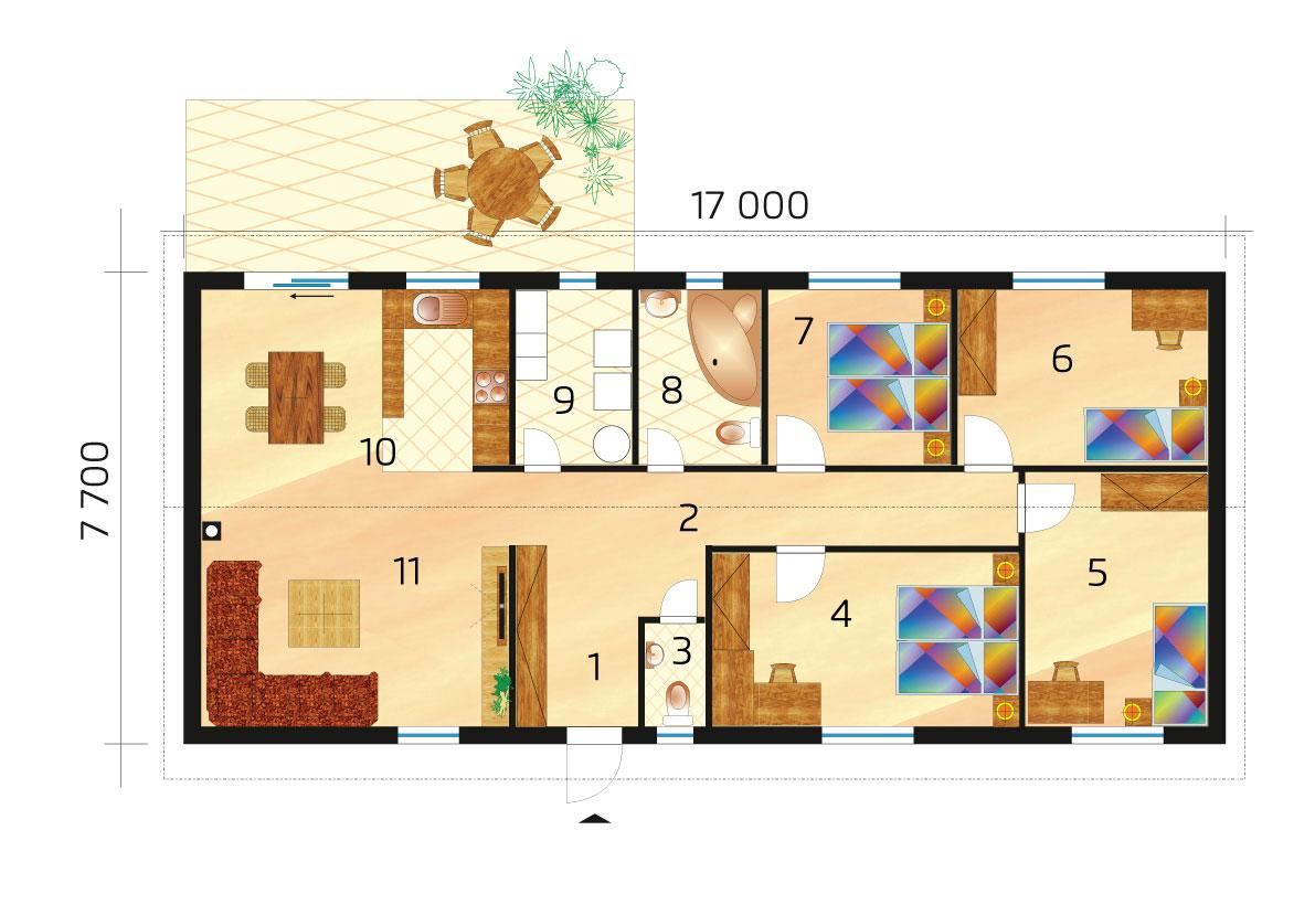 Veľký 5 izbový úsporný bungalov - č.75, pôdorys