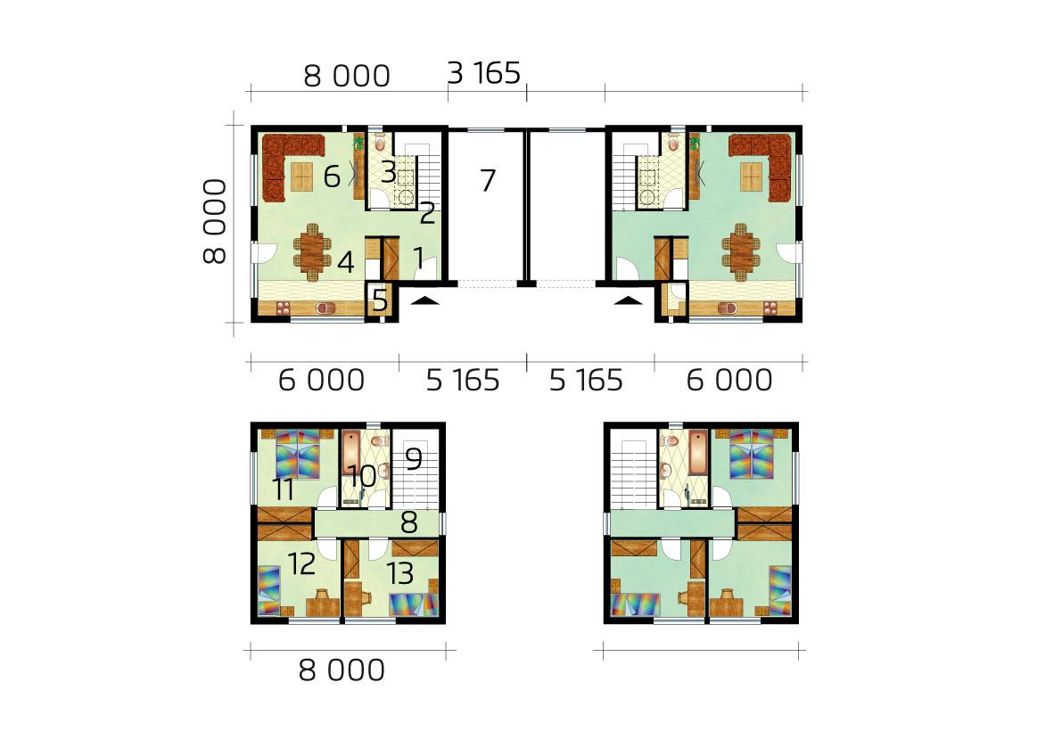 Dvopodlažný dvojdom s rovnou strechou – č.53, pôdorys