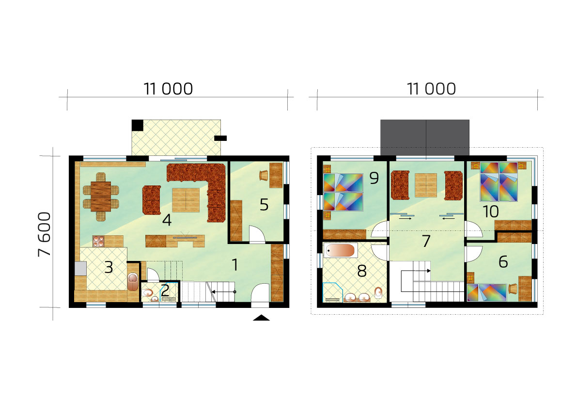 Dvojpodlažný rodinný dom s otvorenou obývacou izbou - č.55, pôdorys