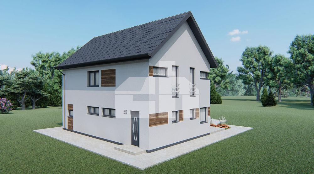 Dvojpodlažný rodinný dom s otvorenou obývacou izbou - č.55