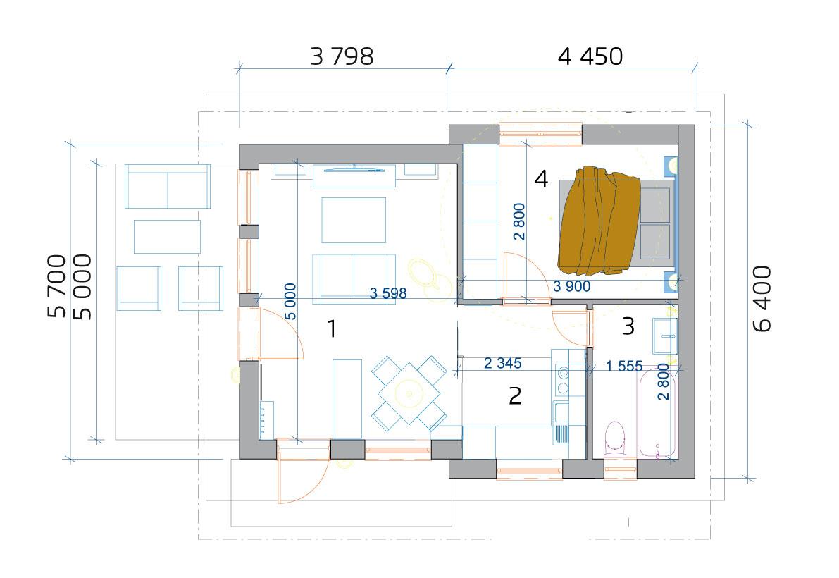 Modulový dom 2 izbový - pôdorys