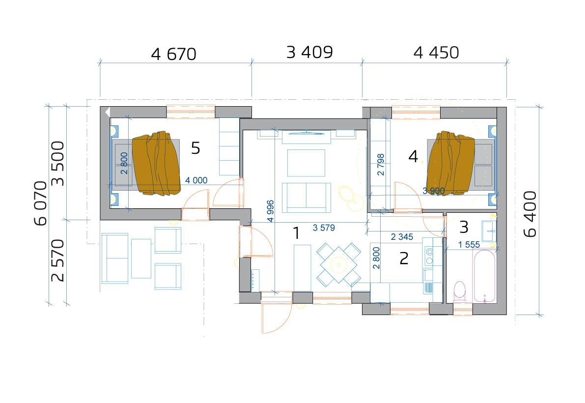 Modulový dom 3 izbový - pôdorys