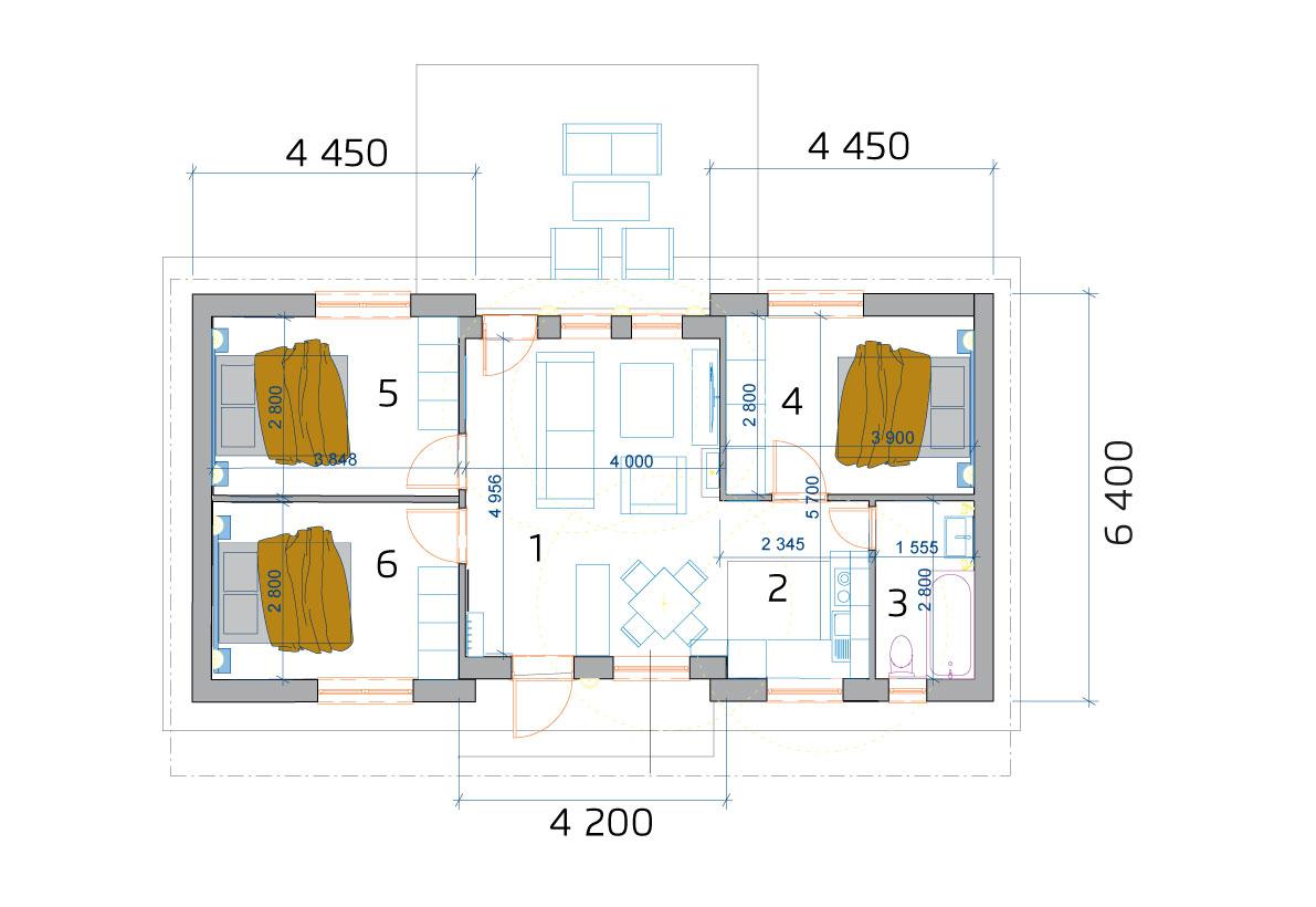 Modulový dom 4 izbový - pôdorys